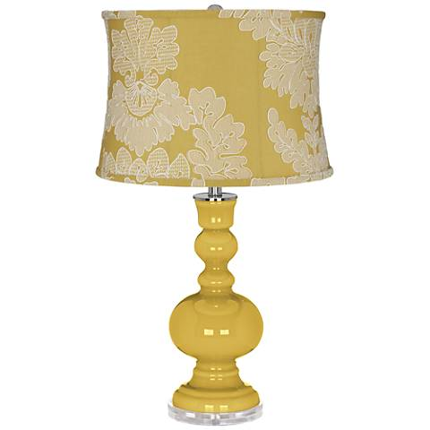 Nugget Apothecary Table Lamp With Yellow Drum Shade