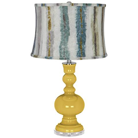 Nugget Apothecary Table Lamp w/Crackle Stripes Shade
