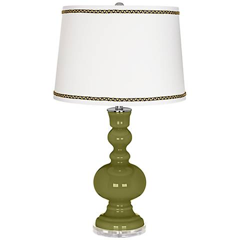 Rural Green Apothecary Table Lamp with Ric-Rac Trim