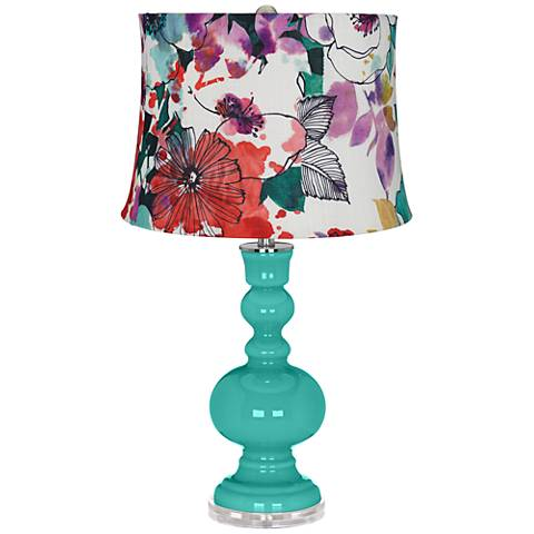 Synergy Multi-Color Flowers Apothecary Table Lamp