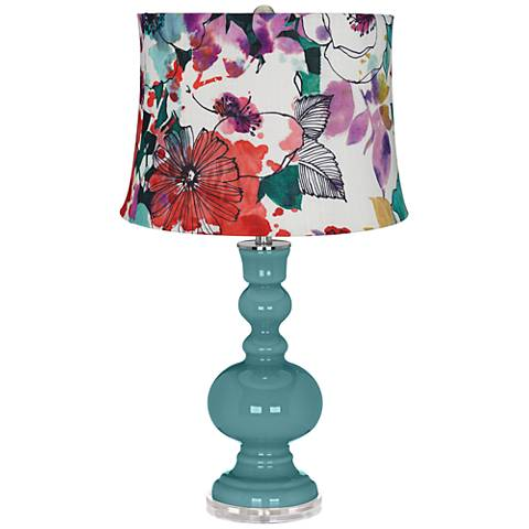 Reflecting Pool Multi-Color Flowers Apothecary Table Lamp