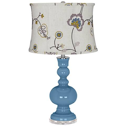 Secure Blue Apothecary Table Lamp w/ Gray Stitched Floral Shade