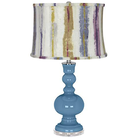 Secure Blue Apothecary Table Lamp w/ Purple Striped Shade