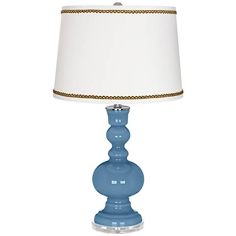 Secure Blue Apothecary Table Lamp with Twist Scroll Trim