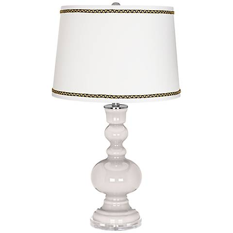 Smart White Apothecary Table Lamp with Ric-Rac Trim
