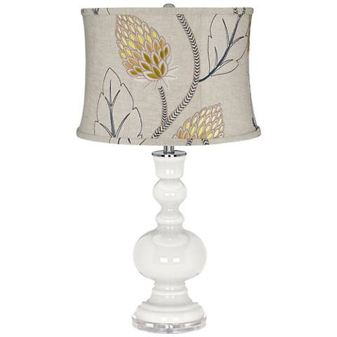 Winter White Apothecary Table Lamp with Beige Thistles Shade