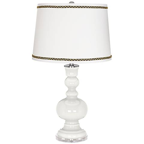 Winter White Apothecary Table Lamp with Ric-Rac Trim