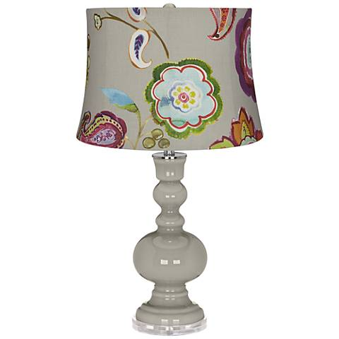 Requisite Gray Beige with Flowers Apothecary Table Lamp