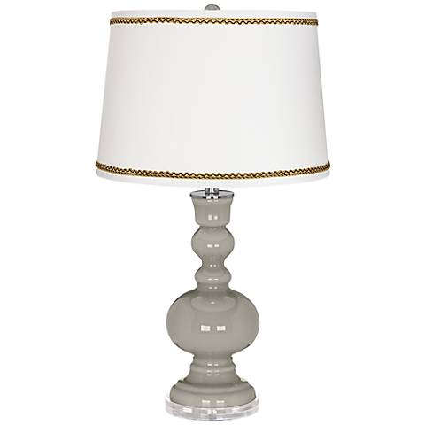 Requisite Gray Apothecary Table Lamp with Twist Scroll Trim
