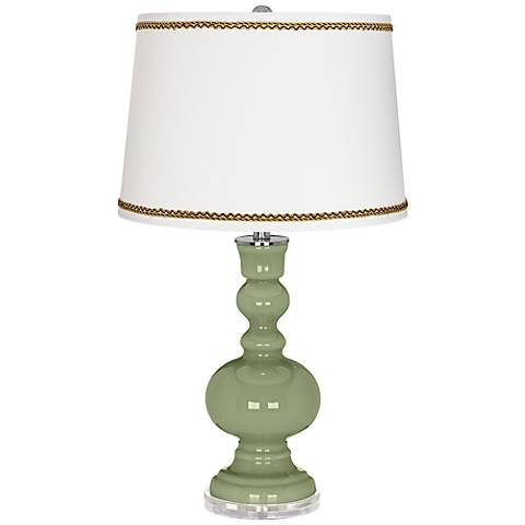 Majolica Green Apothecary Table Lamp with Twist Scroll Trim