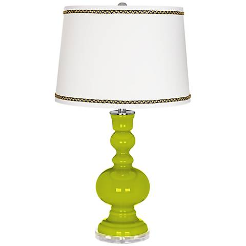 Pastel Green Apothecary Table Lamp with Ric-Rac Trim