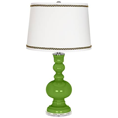 Rosemary Green Apothecary Table Lamp with Ric-Rac Trim