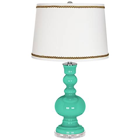 Turquoise Apothecary Table Lamp with Twist Scroll Trim