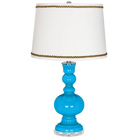 Sky Blue Apothecary Table Lamp with Twist Scroll Trim