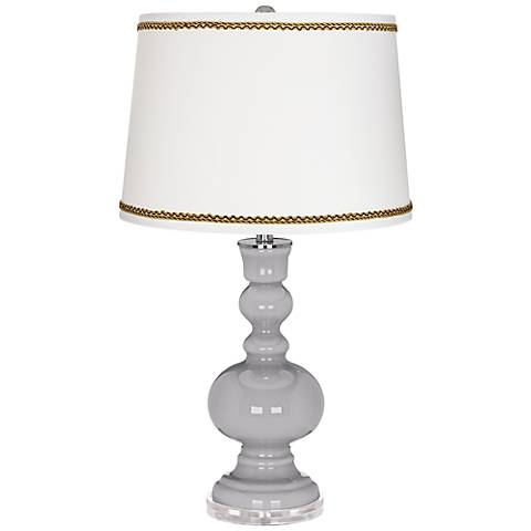 Swanky Gray Apothecary Table Lamp with Twist Scroll Trim