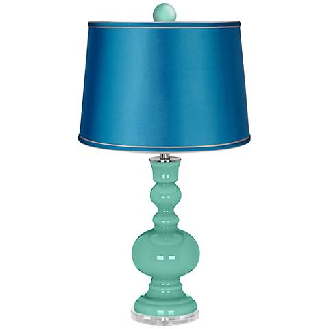 Larchmere Apothecary Lamp-Finial and Satin Turquoise Shade