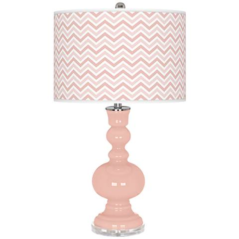 Rose Pink Narrow Zig Zag Apothecary Table Lamp