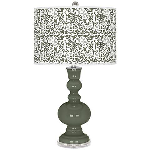 Deep Lichen Green Gardenia Apothecary Table Lamp