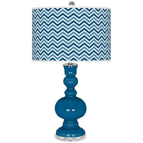 Mykonos Blue Narrow Zig Zag Apothecary Table Lamp
