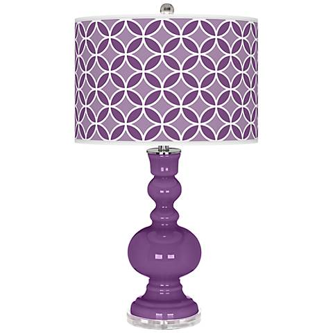 Passionate Purple Circle Rings Apothecary Table Lamp