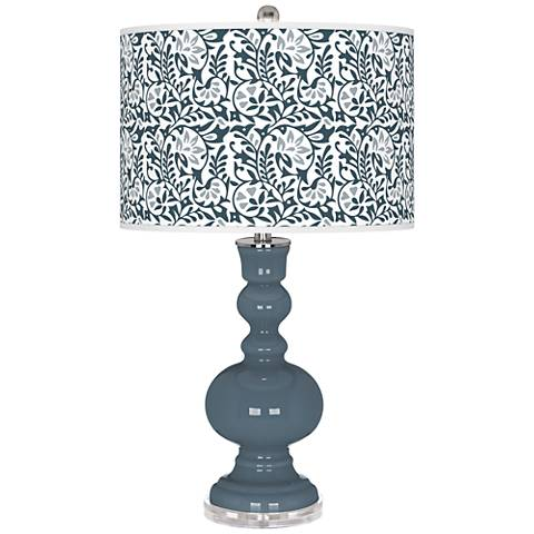 Smoky Blue Gardenia Apothecary Table Lamp