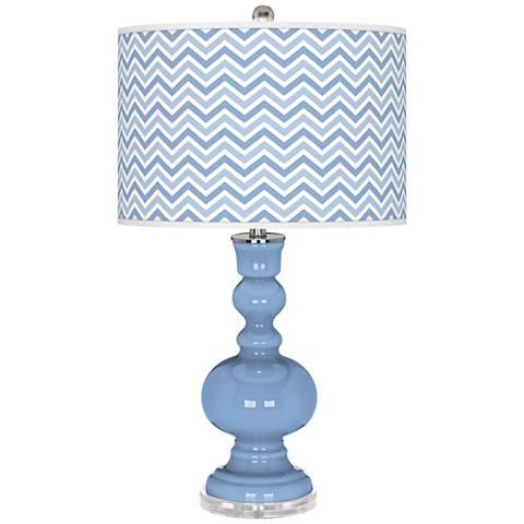 Placid Blue Narrow Zig Zag Apothecary Table Lamp
