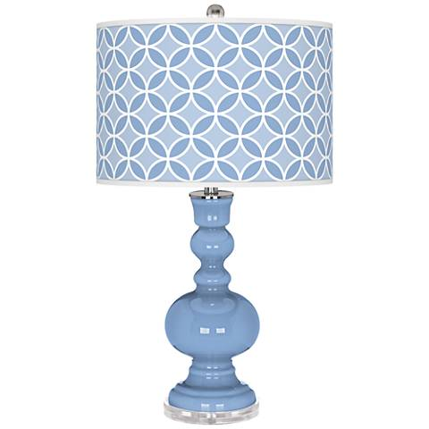 Placid Blue Circle Rings Apothecary Table Lamp