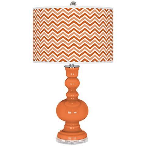 Celosia Orange Narrow Zig Zag Apothecary Table Lamp