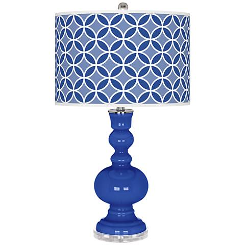 Dazzling Blue Circle Rings Apothecary Table Lamp