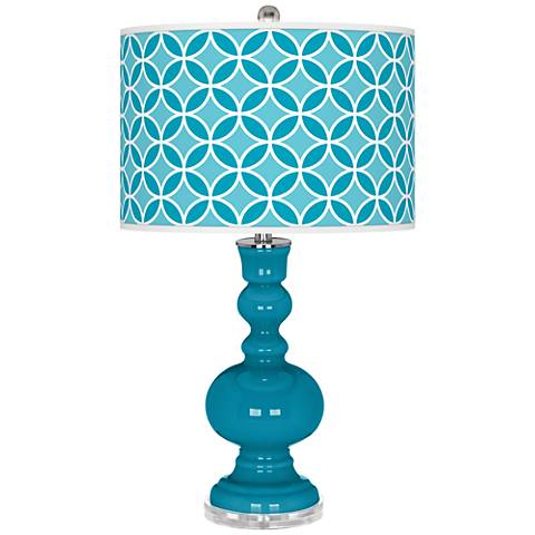 Caribbean Sea Circle Rings Apothecary Table Lamp