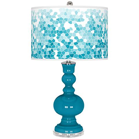 Caribbean Sea Mosaic Giclee Apothecary Table Lamp