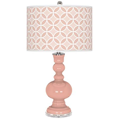 Mellow coral Circle Rings Apothecary Table Lamp