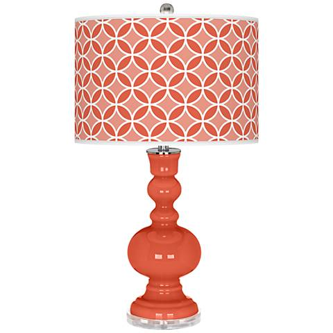 Daring Orange Circle Rings Apothecary Table Lamp