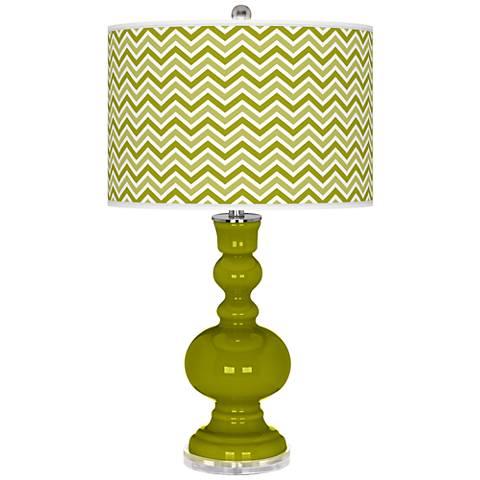 Olive Green Narrow Zig Zag Apothecary Table Lamp