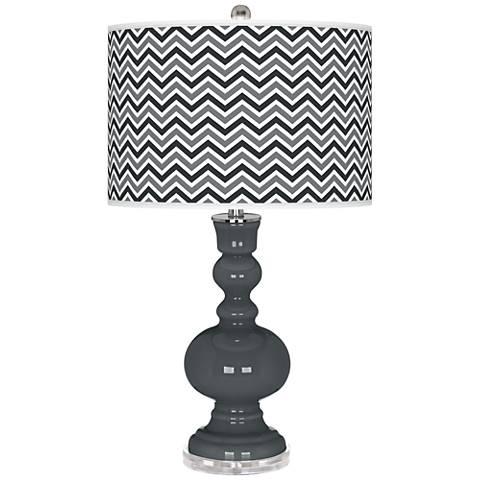 Black of Night Narrow Zig Zag Apothecary Table Lamp
