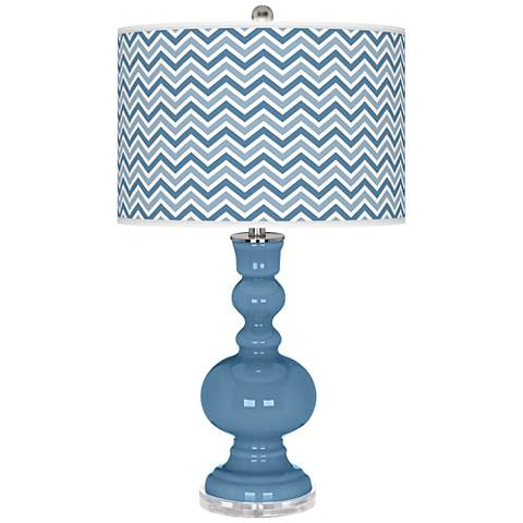 Secure Blue Narrow Zig Zag Apothecary Table Lamp