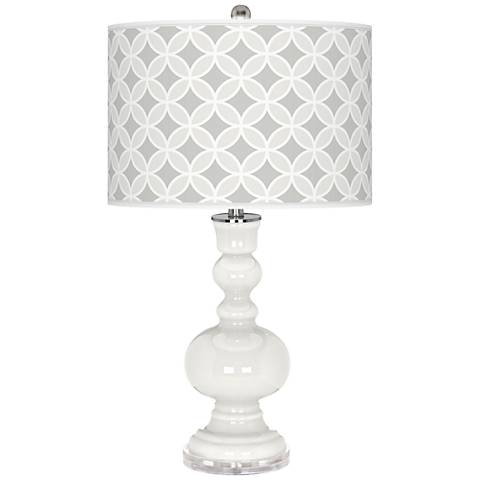 Winter White Circle Rings Apothecary Table Lamp