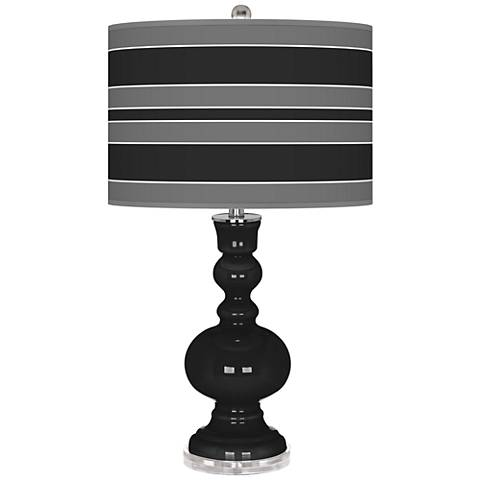 Tricorn Black Bold Stripe Apothecary Table Lamp