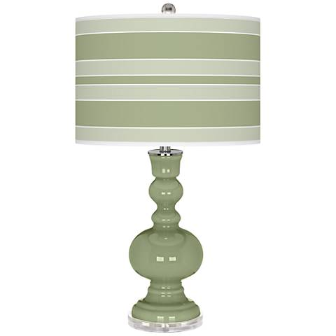 Majolica Green Bold Stripe Apothecary Table Lamp