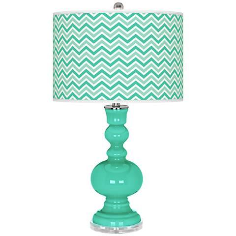 Turquoise Narrow Zig Zag Apothecary Table Lamp