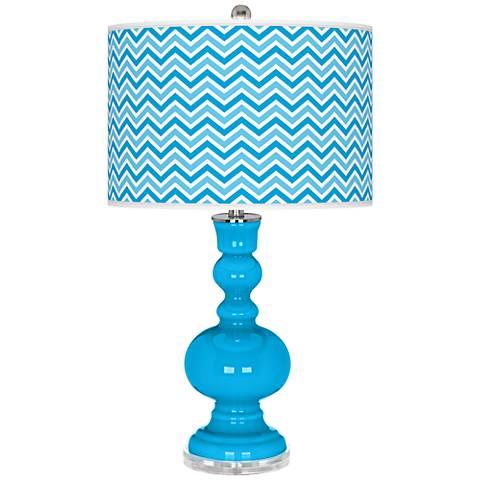 Sky Blue Narrow Zig Zag Apothecary Table Lamp