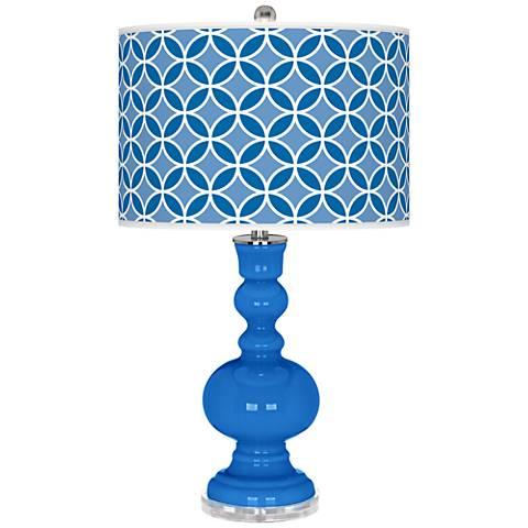 Royal Blue Circle Rings Apothecary Table Lamp