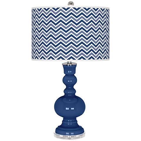 Monaco Blue Narrow Zig Zag Apothecary Table Lamp