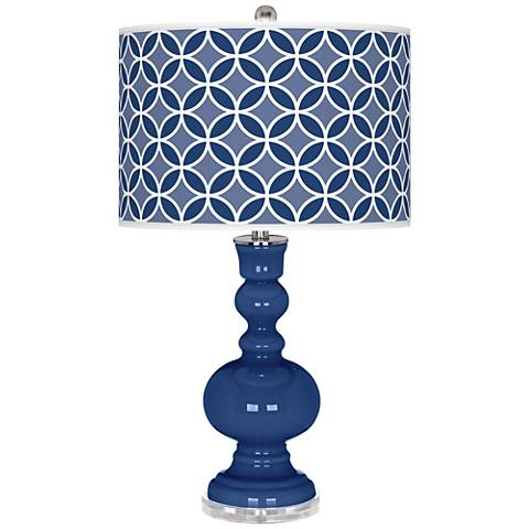 Monaco Blue Circle Rings Apothecary Table Lamp