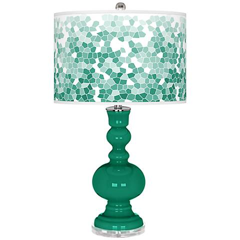 Emerald Mosaic Giclee Apothecary Table Lamp