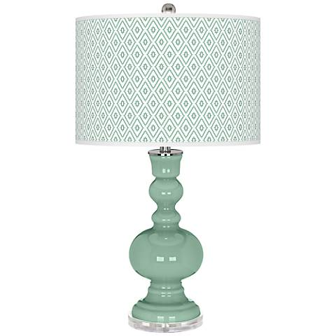 Grayed Jade Diamonds Apothecary Table Lamp