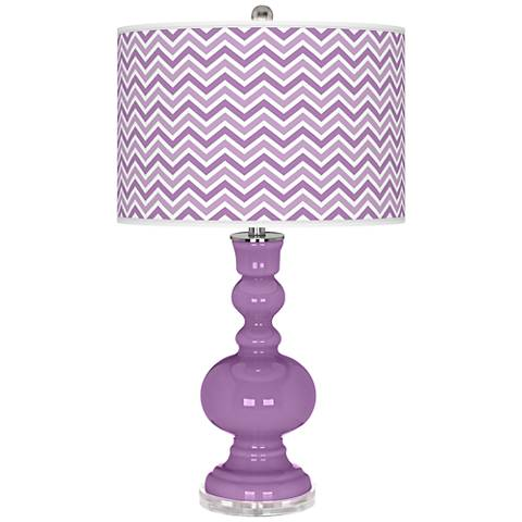 African Violet Narrow Zig Zag Apothecary Table Lamp