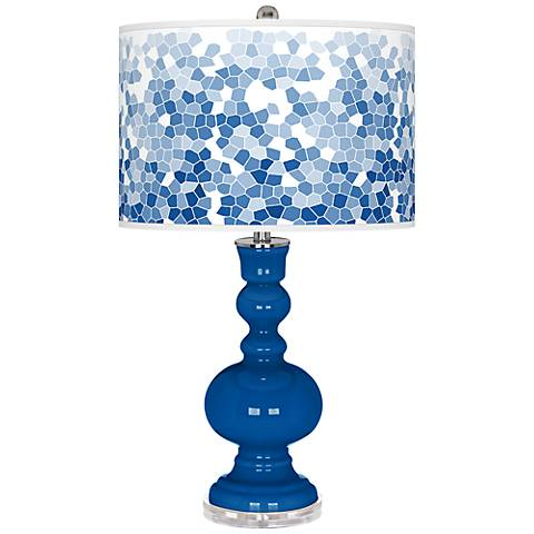 Hyper Blue Mosaic Giclee Apothecary Table Lamp