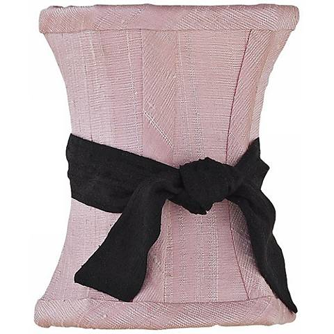 Pink Hourglass Shade with Black Sash 3.75x3.75x5