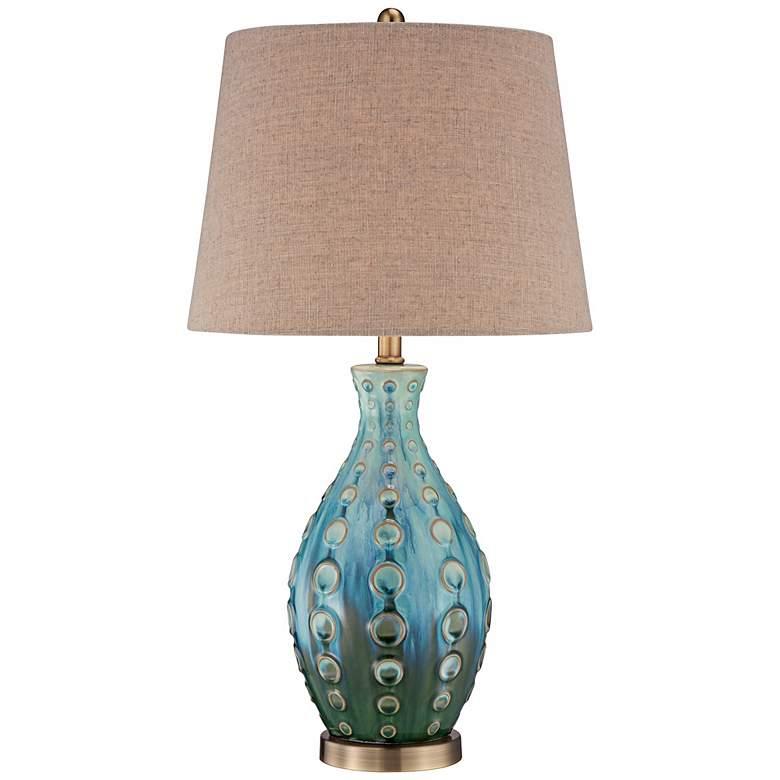 Mid-Century Ceramic Vase Teal Table Lamp